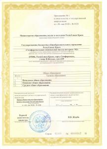 Приложение №1 к аккредитации 001